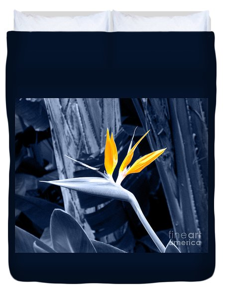 Blue Bird Of Paradise Duvet Cover