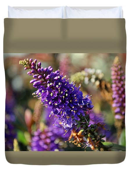 Duvet Cover featuring the photograph Blue Brush Bloom by Tikvah's Hope