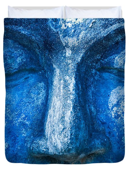 Duvet Cover featuring the photograph Blue Buddha  by Luciano Mortula