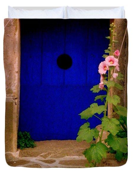 Blue Door And Pink Hollyhocks Duvet Cover