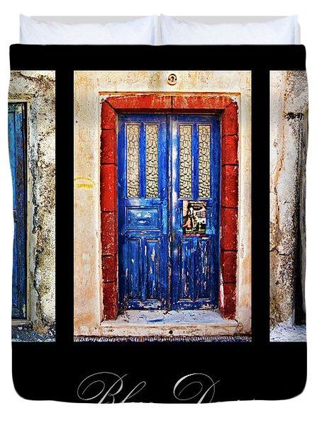Blue Doors Of Santorini Duvet Cover by Meirion Matthias