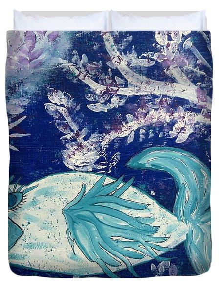 Blue Fish Called Flow Duvet Cover