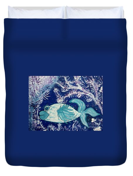 Blue Fish Called Flow Duvet Cover