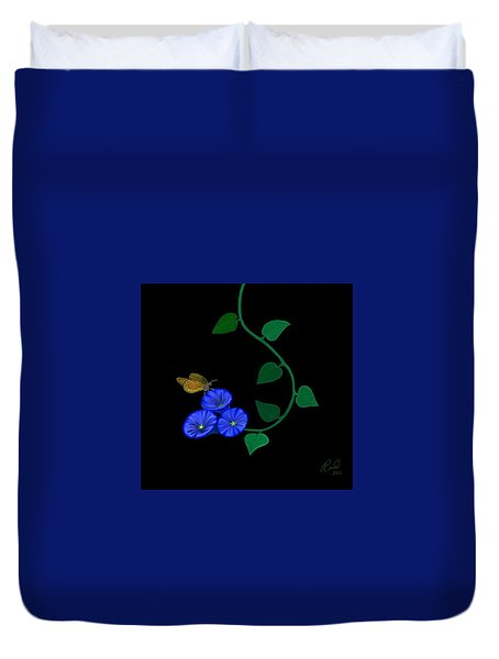 Duvet Cover featuring the painting Blue Flower Butterfly by Rand Herron