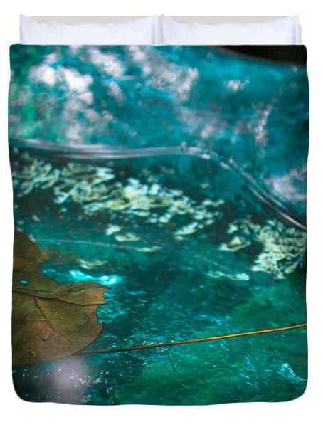 Blue Glass Bird Bath Duvet Cover