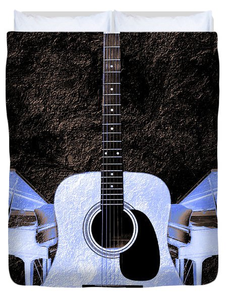 Blue Guitar Butterfly Duvet Cover by Andee Design