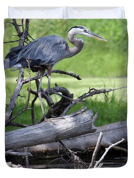 Duvet Cover featuring the photograph Blue Heron At The Lake by Debbie Hart