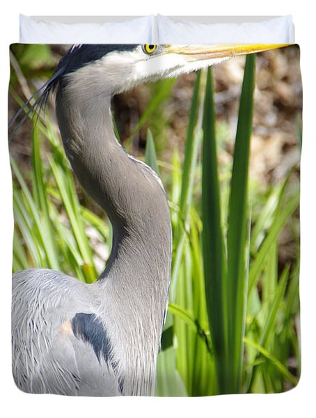 Duvet Cover featuring the photograph Blue Heron by Marilyn Wilson