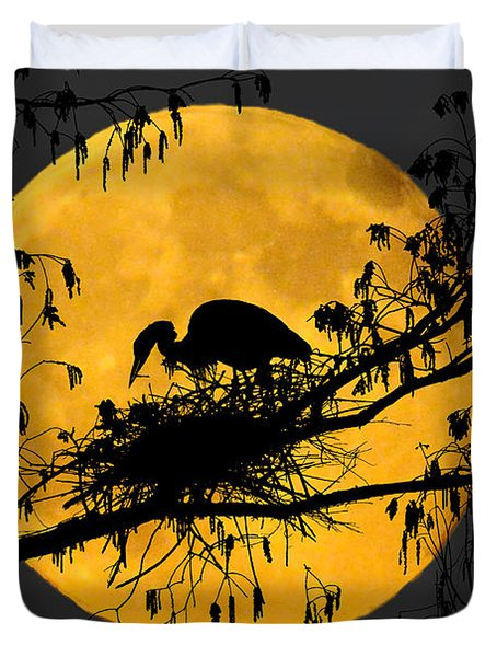 Duvet Cover featuring the photograph Blue Heron On Roost by Dan Friend