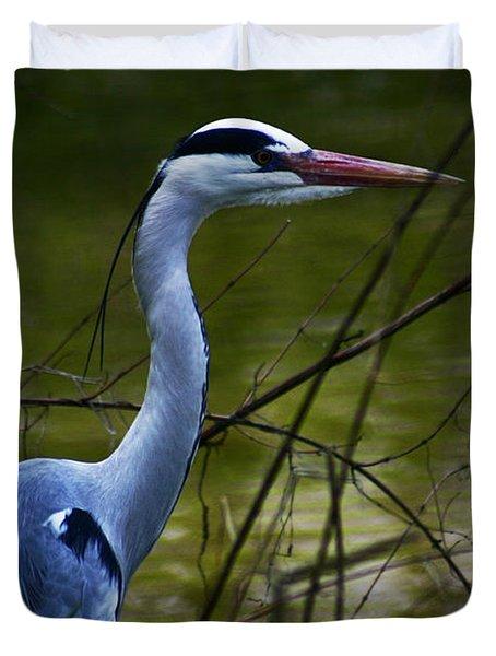 Blue Heron Vondelpark Amsterdam Duvet Cover