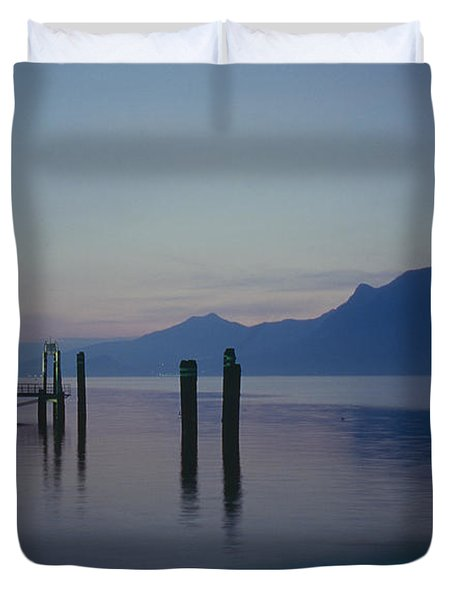 Blue Hour At Dawn On Lago Maggiore Duvet Cover by Heiko Koehrer-Wagner