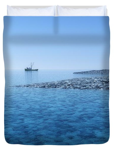 Duvet Cover featuring the digital art Blue Infinity... by Tim Fillingim