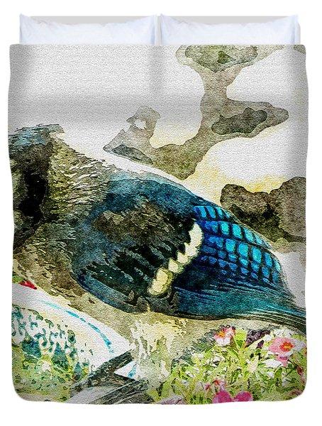 Blue Jay Art Duvet Cover by Debbie Portwood