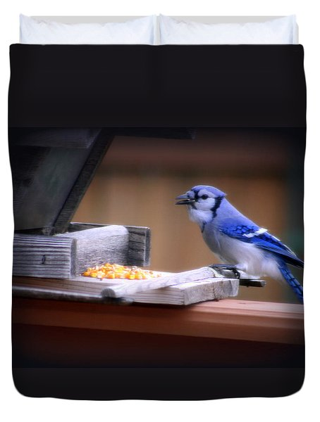 Duvet Cover featuring the photograph Blue Jay On Backyard Feeder by Kay Novy