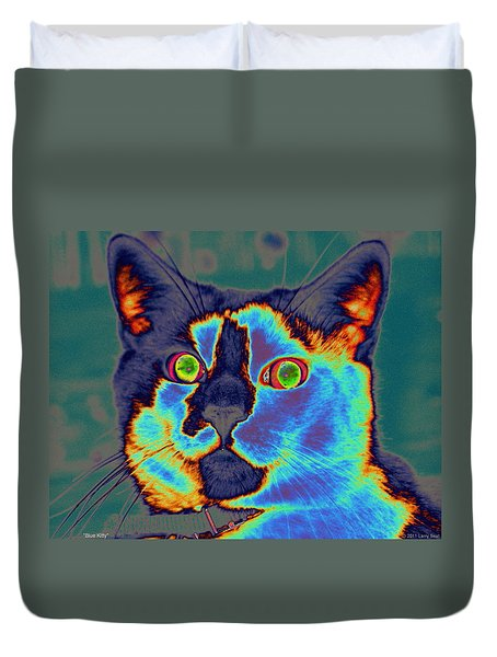 Blue Kitty Duvet Cover