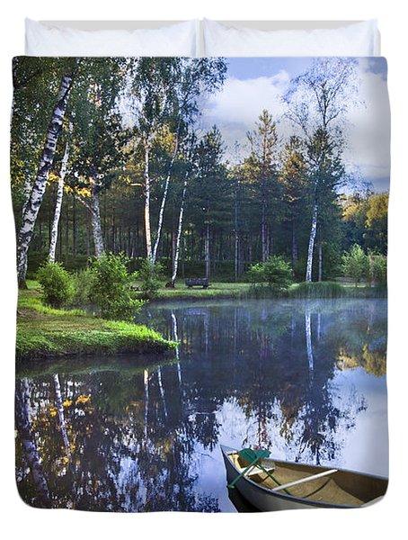 Blue Lake Duvet Cover by Debra and Dave Vanderlaan