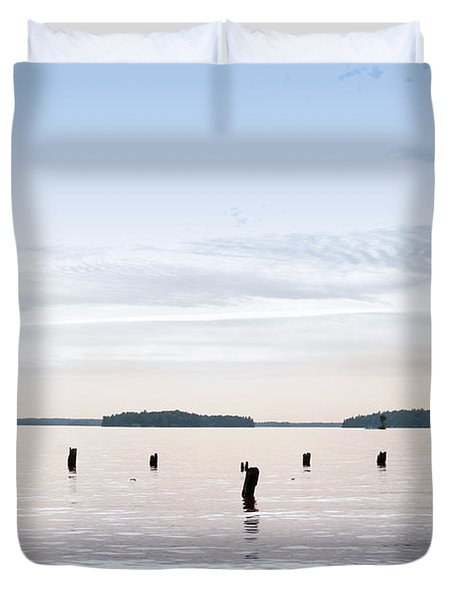 Duvet Cover featuring the photograph Blue Lake Muskoka by Les Palenik