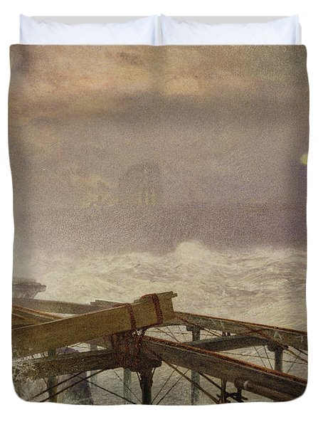 Blue Lights - Teignemouth Pier Duvet Cover by Alfred William Hunt
