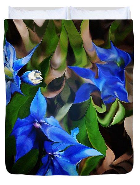 Blue Manipulation Duvet Cover by David Lane