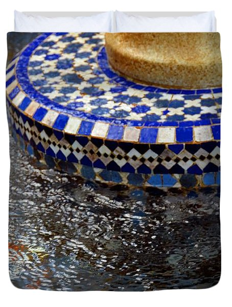 Blue Mosaic Fountain II Duvet Cover