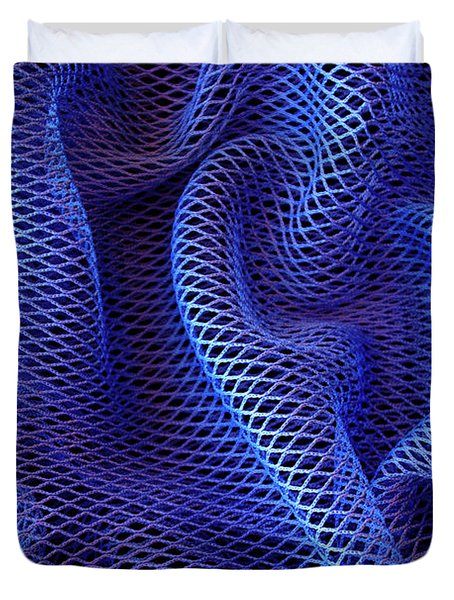 Blue Net Background Duvet Cover by Carlos Caetano