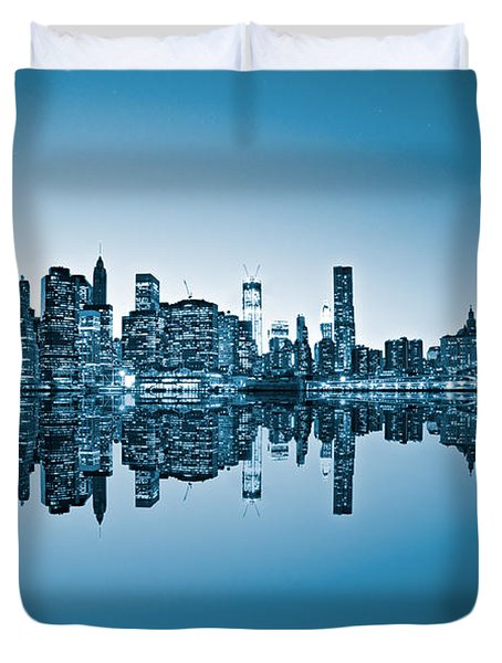 Duvet Cover featuring the photograph Blue New York City by Luciano Mortula