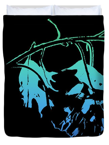 Duvet Cover featuring the photograph Blue On Black by Lauren Radke