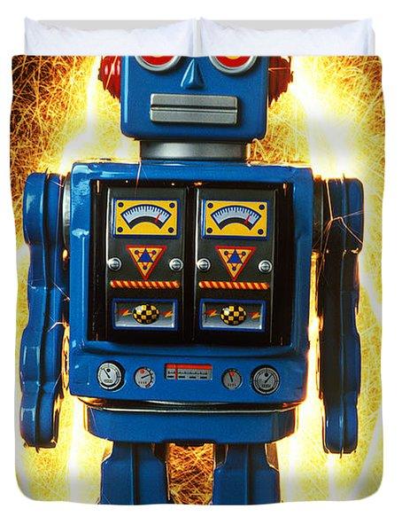 Blue Robot With Sparks Duvet Cover