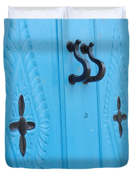 Blue Sidi Bou Said Tunisia Door Duvet Cover by Eva Kaufman