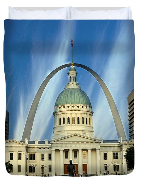 Blue Skies Over St. Louis Duvet Cover by Marty Koch