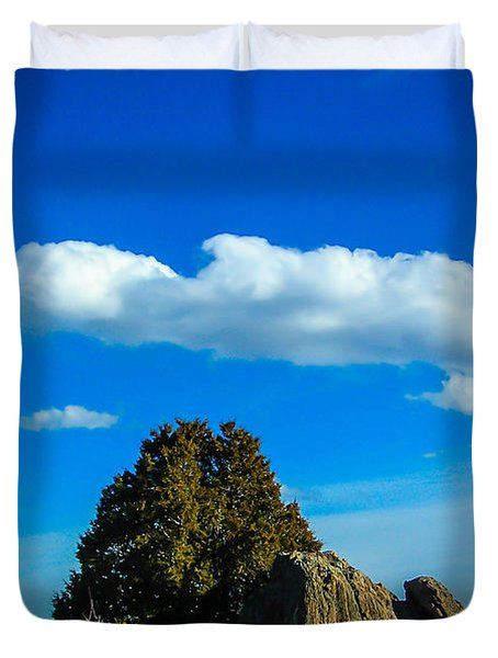Duvet Cover featuring the photograph Blue Skies by Shannon Harrington