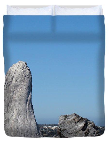 Blue Sky Coastal Landscape Driftwood Rock Pier Duvet Cover by Baslee Troutman