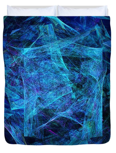 Blue Space Debris Duvet Cover by Andee Design