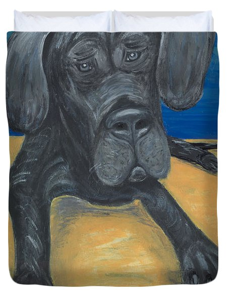 Blue The Great Dane Pup Duvet Cover by Ania M Milo