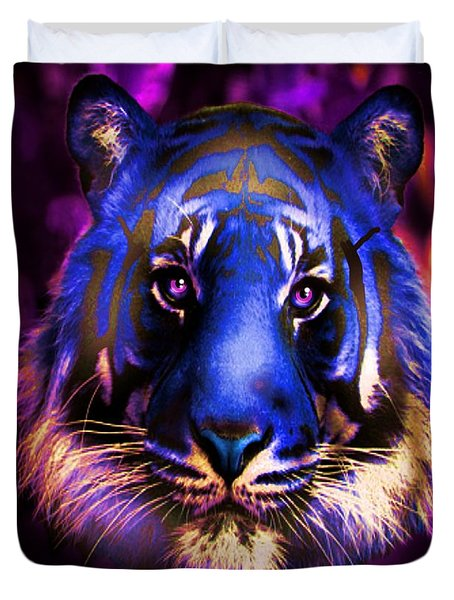 Duvet Cover featuring the photograph Blue Tiger Of The Purple Forest by George Pedro