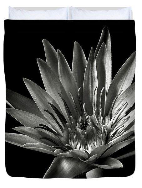 Blue Water Lily In Black And White Duvet Cover by Endre Balogh