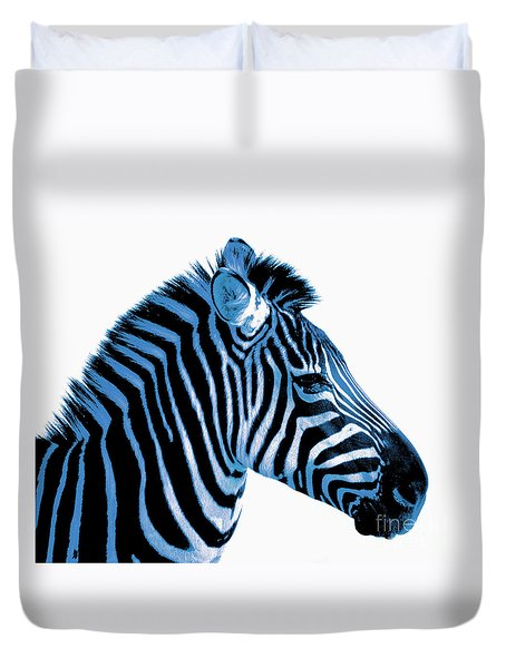 Blue Zebra Art Duvet Cover