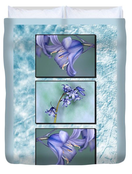 Duvet Cover featuring the photograph Bluebell Triptych by Steve Purnell