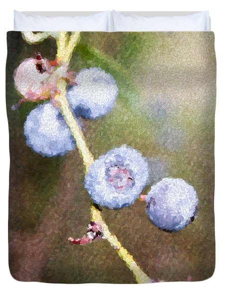 Duvet Cover featuring the painting Blueberries  by Ester  Rogers