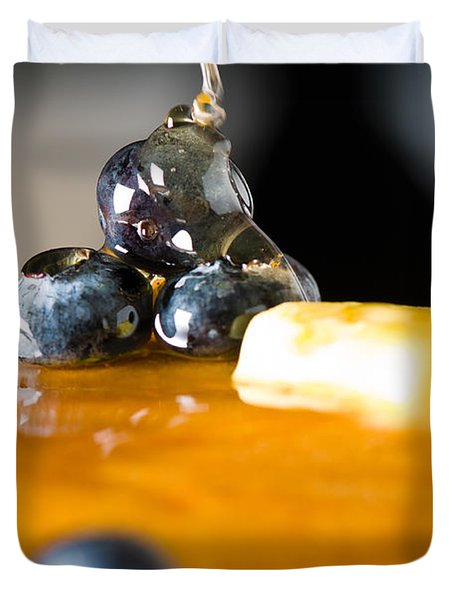 Blueberry Butter Pancake With Honey Maple Sirup Flowing Down Duvet Cover by Ulrich Schade