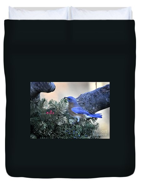 Duvet Cover featuring the photograph Bluebird Christmas Wreath by Nava Thompson