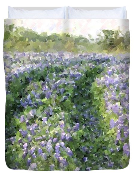 Duvet Cover featuring the photograph Bluebonnet Trail by Donna  Smith