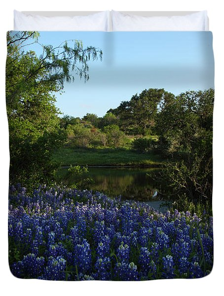 Bluebonnets At The Pond Duvet Cover