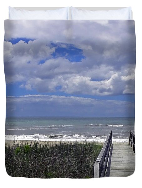 Boardwalk To The Beach Duvet Cover by Sandi OReilly