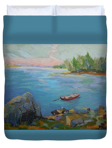 Boat And Bay Duvet Cover by Francine Frank