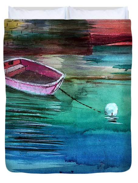 Boat And The Buoy Duvet Cover by Anil Nene