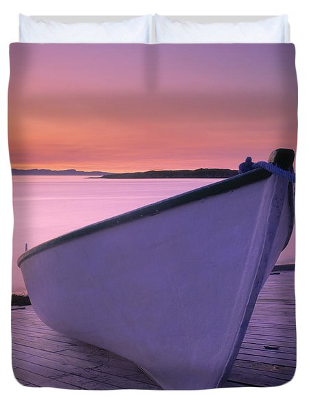 Boat At Dawn, Harrington Harbour, Lower Duvet Cover by Yves Marcoux