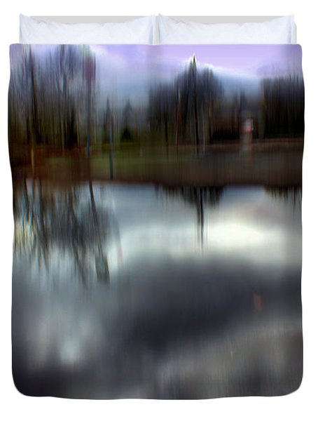 Duvet Cover featuring the mixed media Boat House I by Terence Morrissey