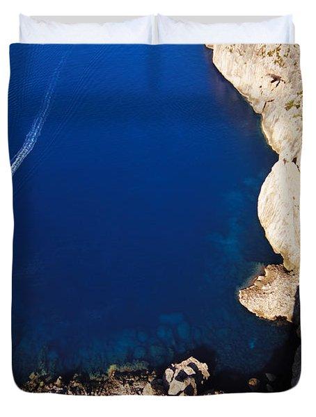 Boat In The Sea Duvet Cover