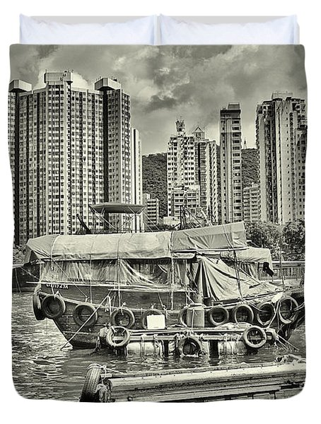 Boat Life In Hong Kong Duvet Cover by Joe  Ng